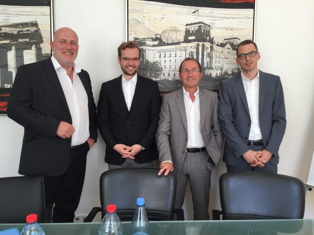 v.li.n.re.: Jörn Grote (ETL Systeme AG Steuerberatungsgesellschaft - Franchise), Jan Schmelzle (DFV), Jörg T. Eckhold (Eckhold Consultants GmbH), Marcus Severin (ISOTEC GmbH)