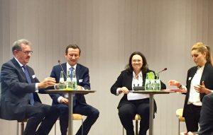 Andrea Nahles (Bundesministerin für Arbeit und Soziales), Lionel Souque (Mitglied des Vorstands, REWE Group), Josef Sankjohanser (Präsident, Handelsverband Deutschland)