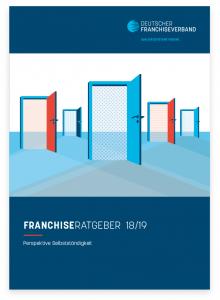 Bild des Covers des Franchiseratgeber 2018 / 2019 zeigt offene Türen